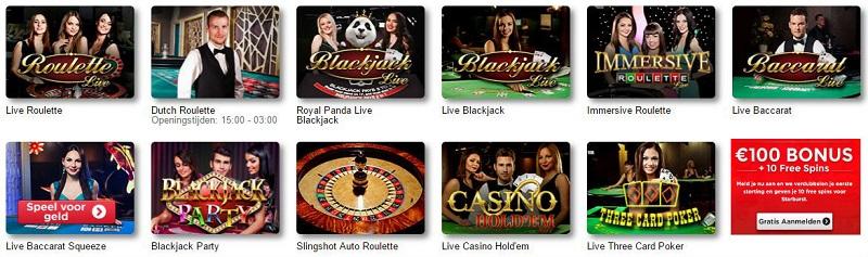 live casino spellen bij 777